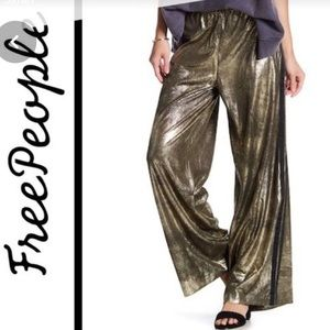 Free People gold track pants, M